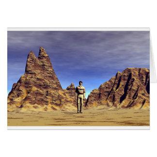 Man Alone: in Desert Landscape. Card
