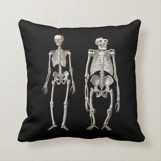 Man and Ape Skeletons Darwin Evolution Throw Pillow