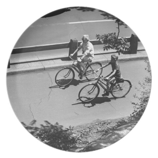 Man and Boy Cycling Plate