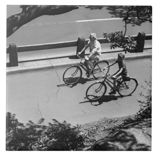 Man and Boy Cycling Tile