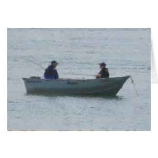 Man and Boy Fishing Greeting Card