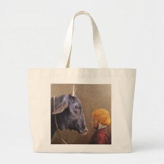 Man and Bull Large Tote Bag