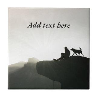 Man and Dog Bond on the Mountain Ceramic Tile