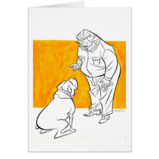 man and dog card