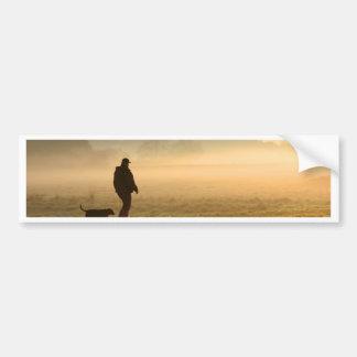 Man and Dog Mountain Mist Bumper Sticker