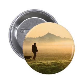 Man and Dog Mountain Mist Button