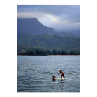 Man and Dog on Paddleboard in Hanalei Bay Poster