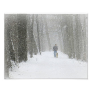 Man and Dog on the Trail, in the Snow Poster
