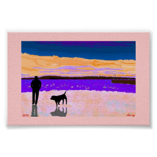Man and Dog Poster by:davyartpostershop*