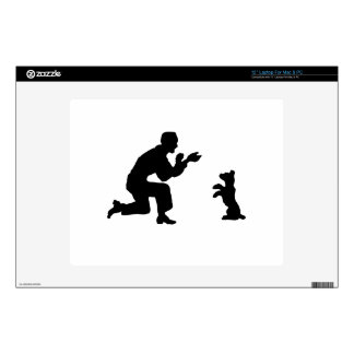 """Man and Dog Silhouette Decals For 12"""" Laptops"""