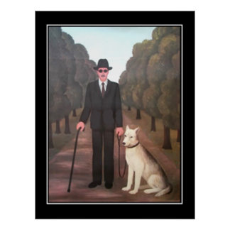 Man and Dog Vintage Poster
