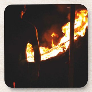Man and fire beverage coaster