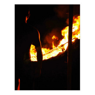 Man and fire postcard