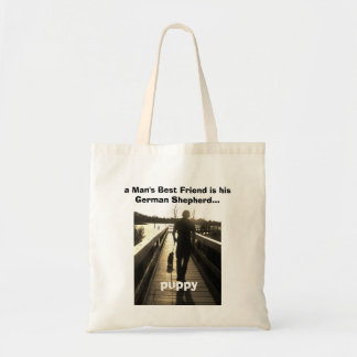 Man and German Shepherd puppy dog Tote Bag
