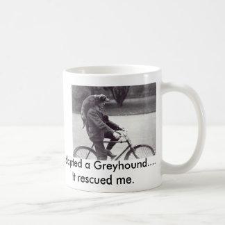 Man and greyhound on bicycle in England, Classic White Coffee Mug