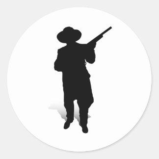 Man and Gun 2 Round Stickers
