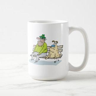 Man and his Dog on a Park Bench Coffee Mug