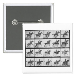 Man and horse jumping a fence, plate 640 from 'Ani 2 Inch Square Button