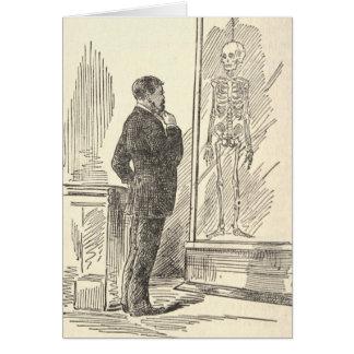 Man and skeleton card