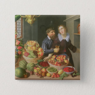 Man and Woman Before a Table Button