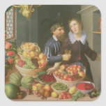 Man and Woman Before a Table Square Sticker