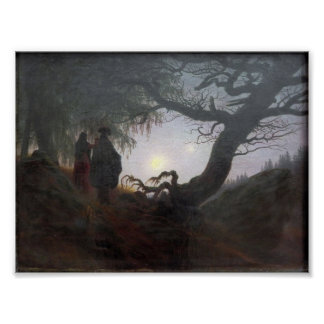 Man and Woman Contemplating the Moon Print