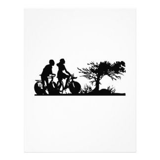 Man and Woman Cycling Silhouette Letterhead