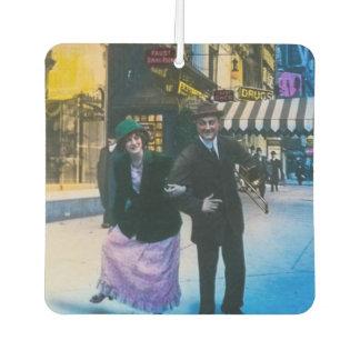 Man and woman dance on street 1900 NYC Car Air Freshener