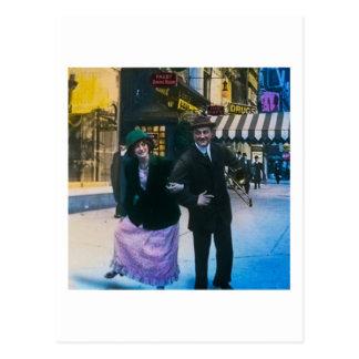 Man and woman dance on street 1900 NYC Postcard