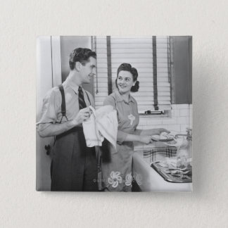 Man and Woman Doing Dishes Button