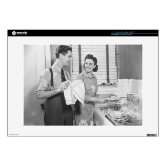 Man and Woman Doing Dishes Laptop Decals