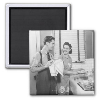 Man and Woman Doing Dishes Magnet