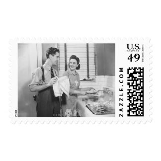 Man and Woman Doing Dishes Postage