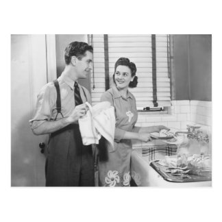 Man and Woman Doing Dishes Postcard
