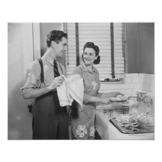 Man and Woman Doing Dishes Print