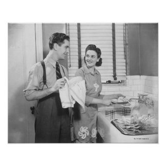 Man and Woman Doing Dishes Posters