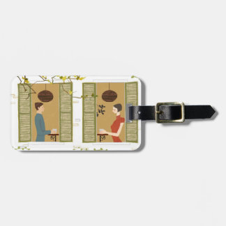 Man and Woman Drinking Coffee Bag Tag