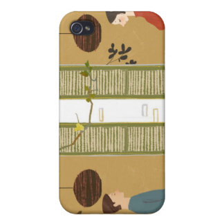 Man and Woman Drinking Coffee Covers For iPhone 4