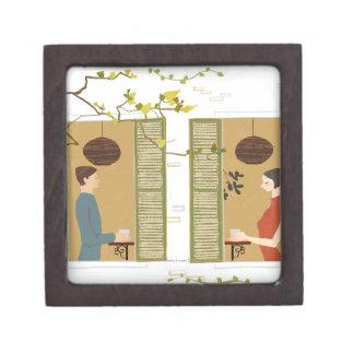 Man and Woman Drinking Coffee Jewelry Box