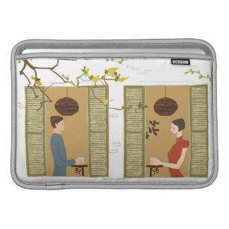 Man and Woman Drinking Coffee MacBook Air Sleeve
