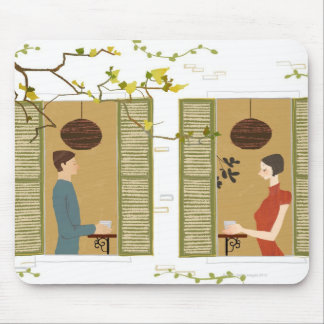 Man and Woman Drinking Coffee Mouse Pad