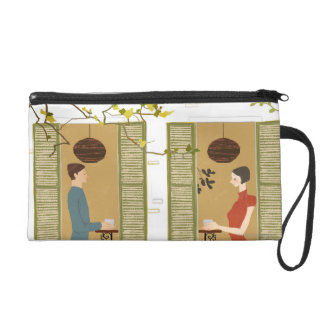 Man and Woman Drinking Coffee Wristlet Purse