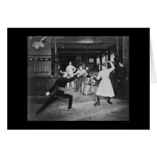 Man and Woman Fencing 1908 Greeting Card