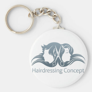 Man and woman hairdresser scissors concept keychain