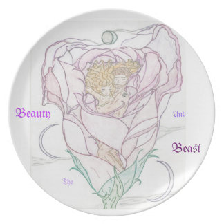 Man and Woman in Rose Melamine Plate
