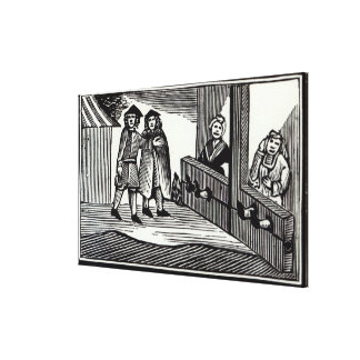 Man and Woman in the Stocks Canvas Print