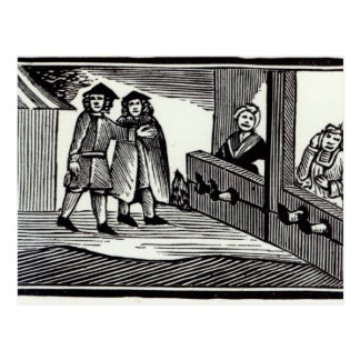 Man and Woman in the Stocks Postcard