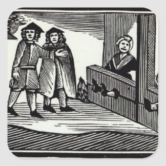 Man and Woman in the Stocks Square Sticker