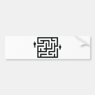 man and woman labyrinth icon car bumper sticker