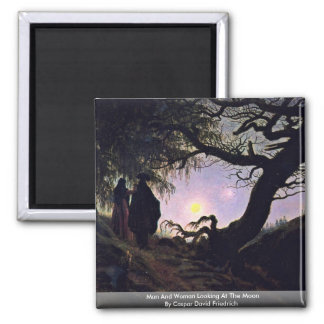 Man And Woman Looking At The Moon 2 Inch Square Magnet